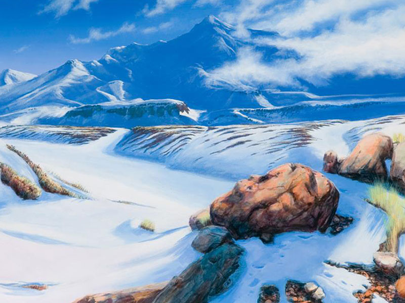 Works-on-canvas-Landscape-paintings-Mt-Ruapehu Landscape paintings